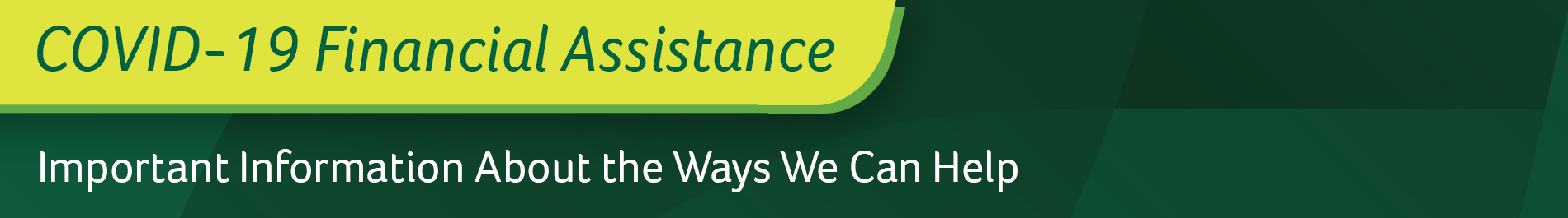 COVID-19 Financial Assistance header graphic