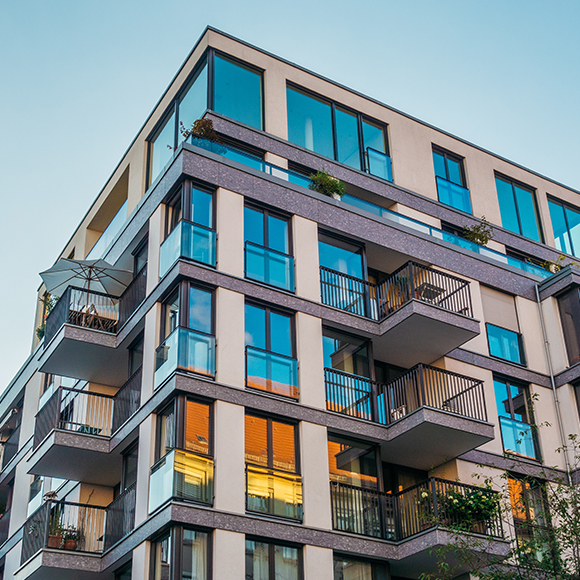 The exterior of a modern apartment building